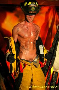 Hott firefighter smiles